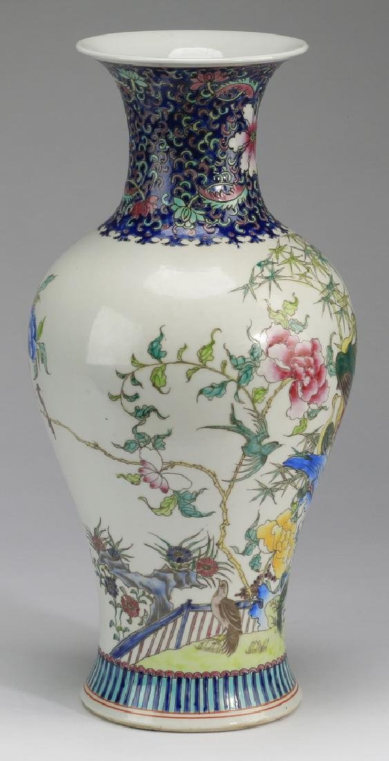 "Chinese porcelain peacock baluster vase, 17""h - 2"