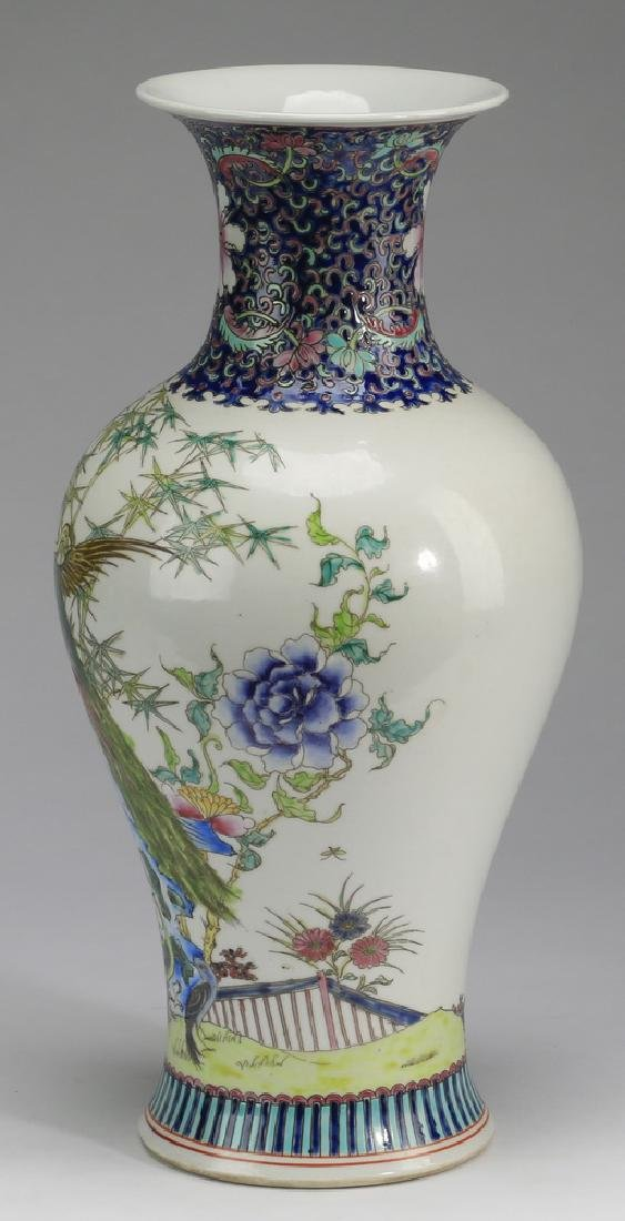 "Chinese porcelain peacock baluster vase, 17""h - 3"