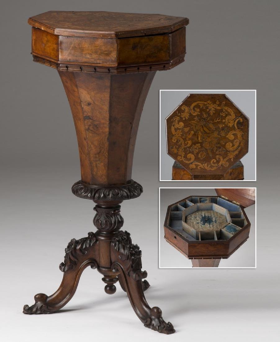 19th c. Continental burl & marquetry sewing table
