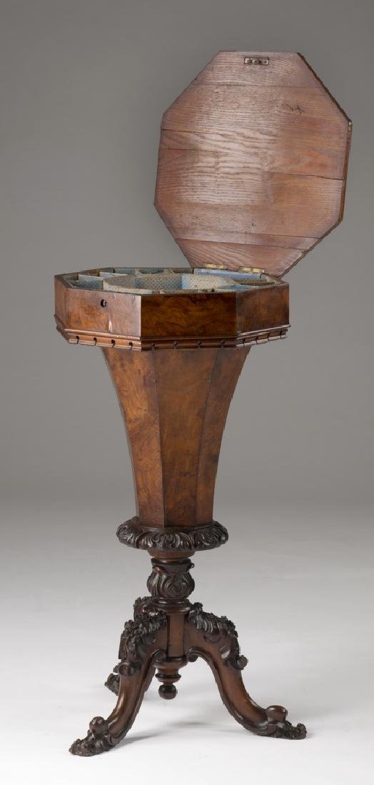 19th c. Continental burl & marquetry sewing table - 2