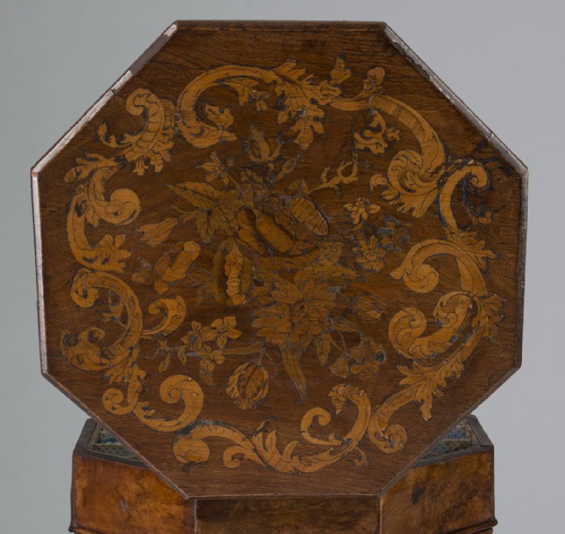 19th c. Continental burl & marquetry sewing table - 3