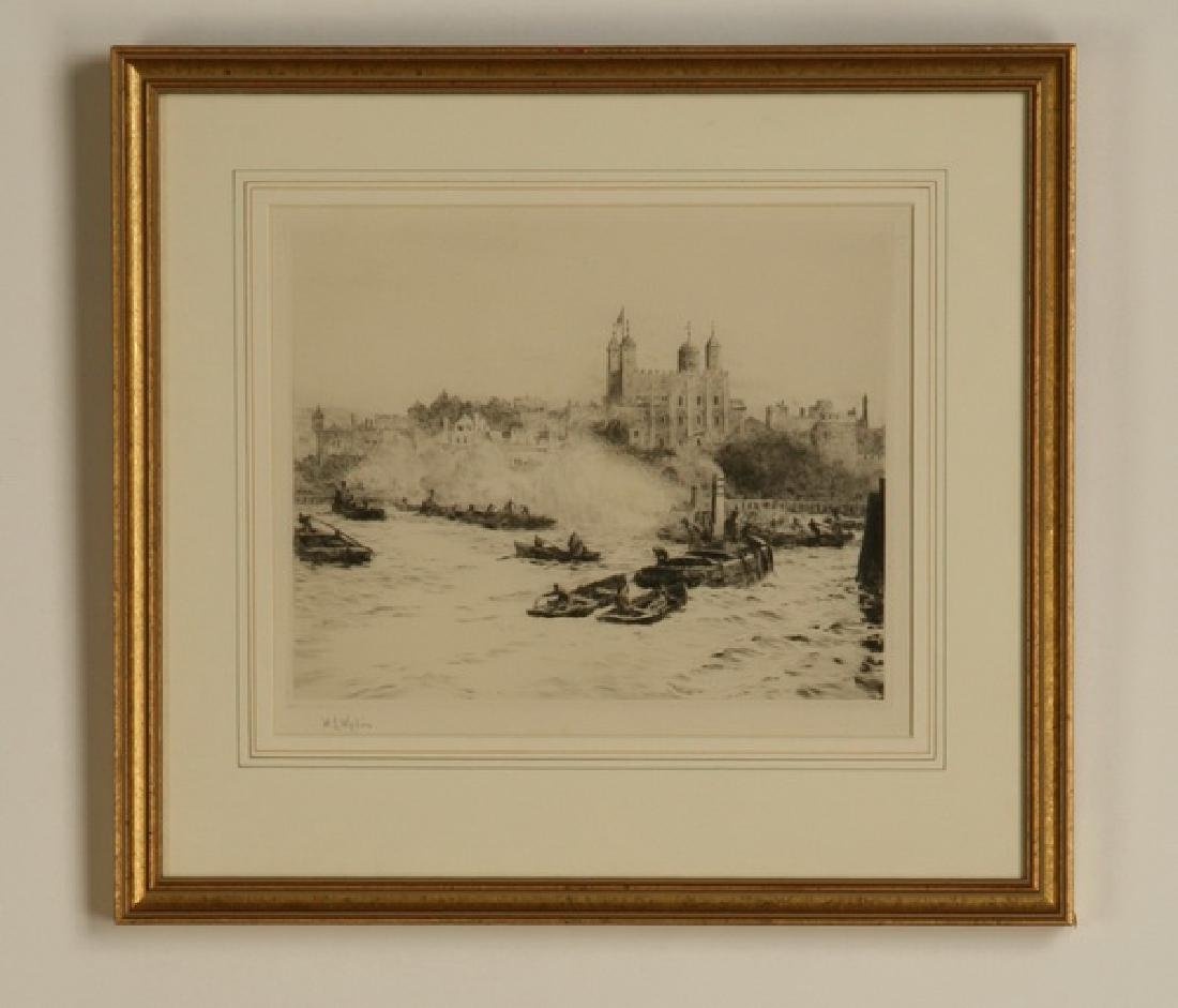 (2) 19th c. framed etchings of London, signed Wyllie - 2