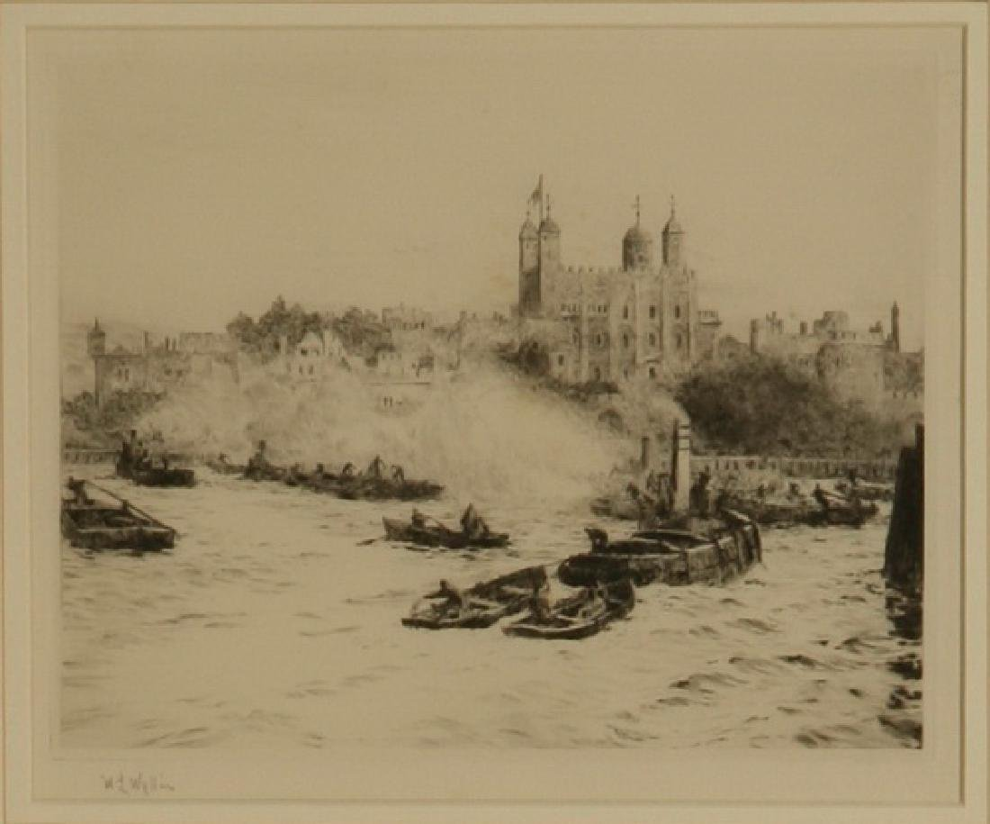 (2) 19th c. framed etchings of London, signed Wyllie - 3