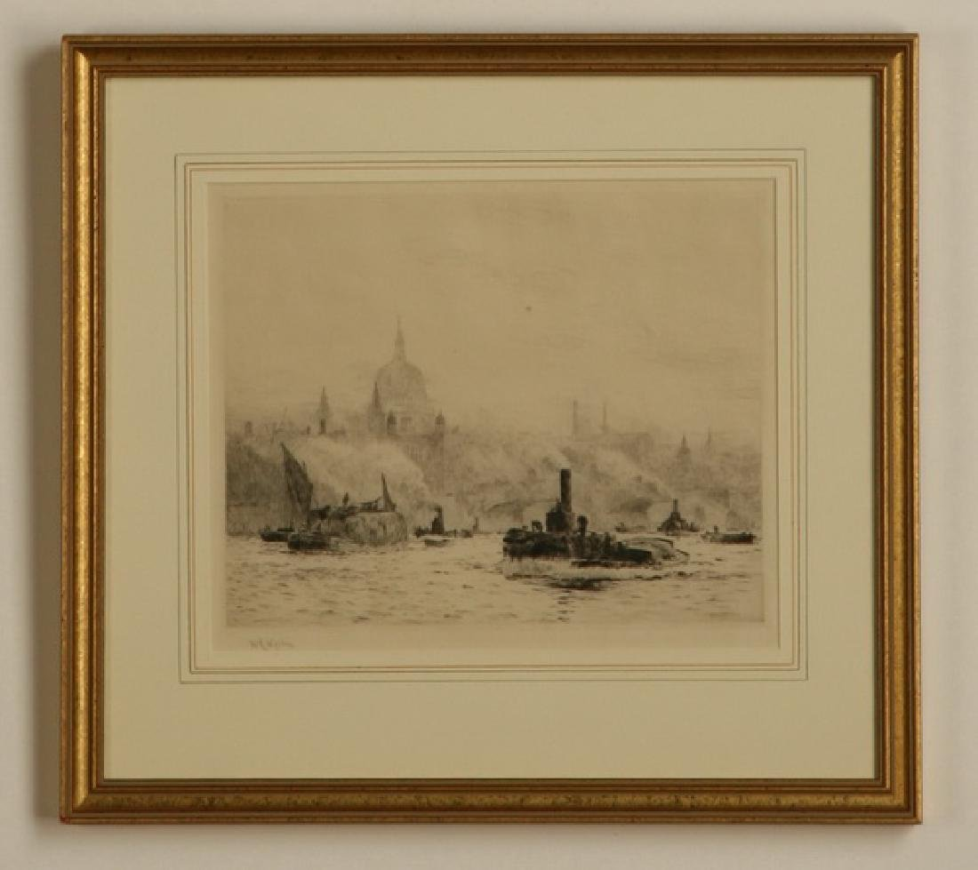 (2) 19th c. framed etchings of London, signed Wyllie - 4