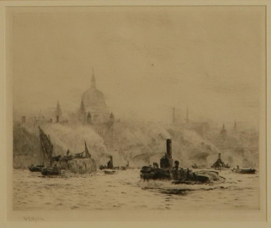 (2) 19th c. framed etchings of London, signed Wyllie - 5
