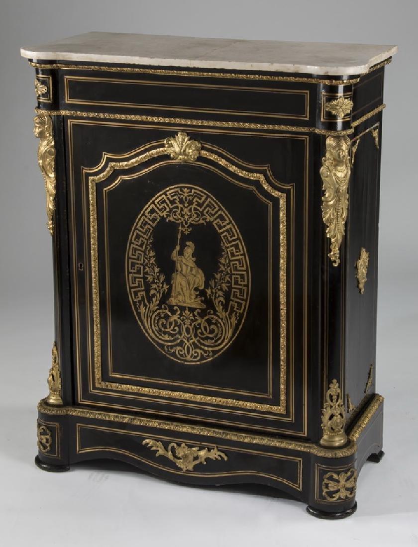 Napoleon III style ebonized marble top cabinet