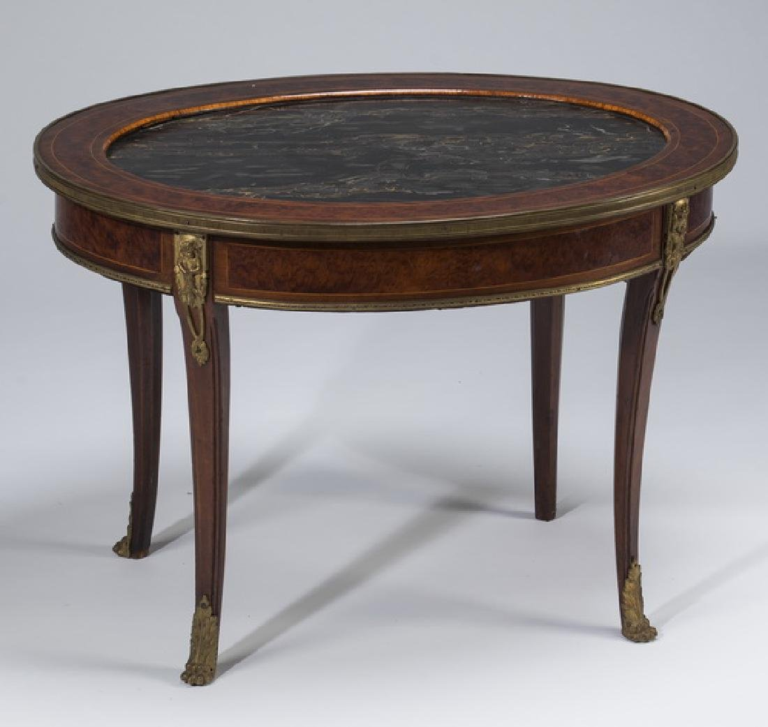 French Empire style mahogany marble top low table