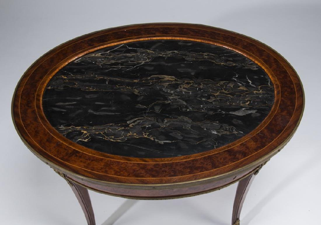 French Empire style mahogany marble top low table - 2