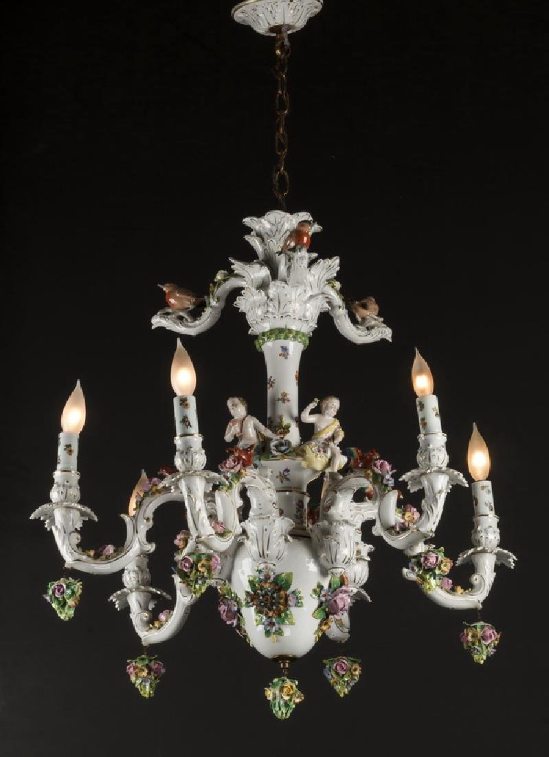 "Dresden style porcelain 6-arm chandelier, 42""h"