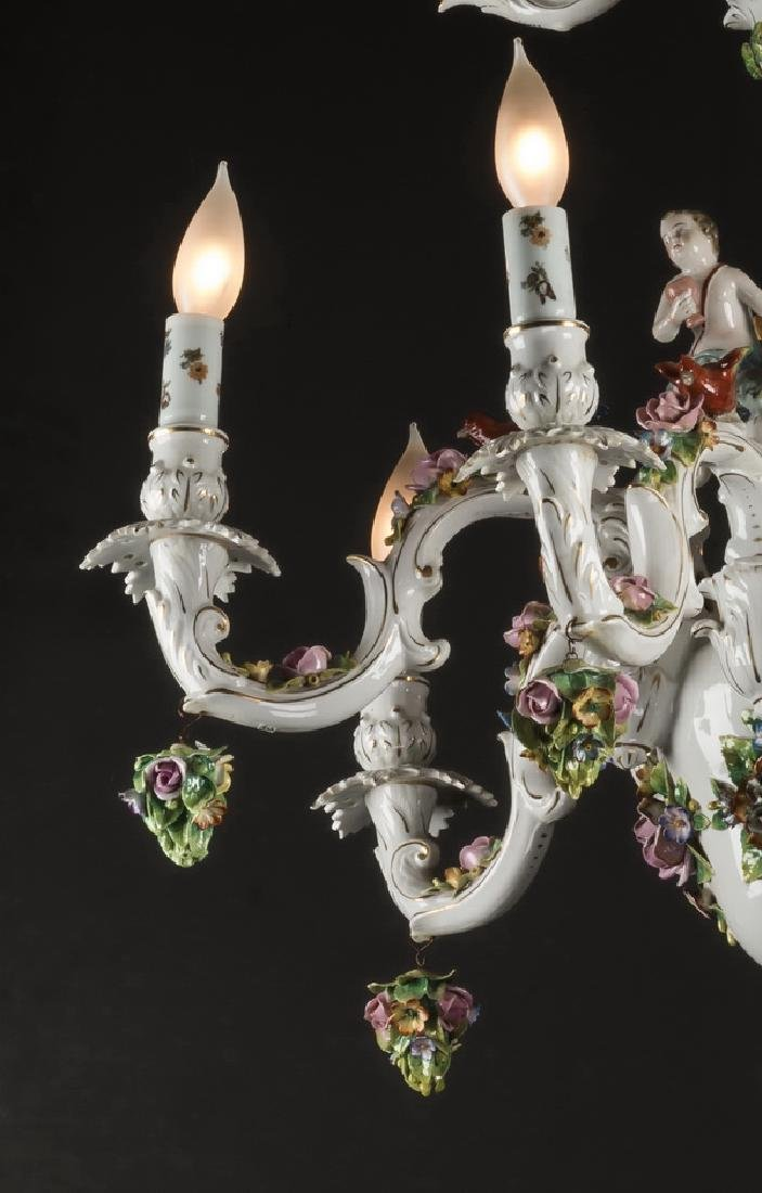 "Dresden style porcelain 6-arm chandelier, 42""h - 4"
