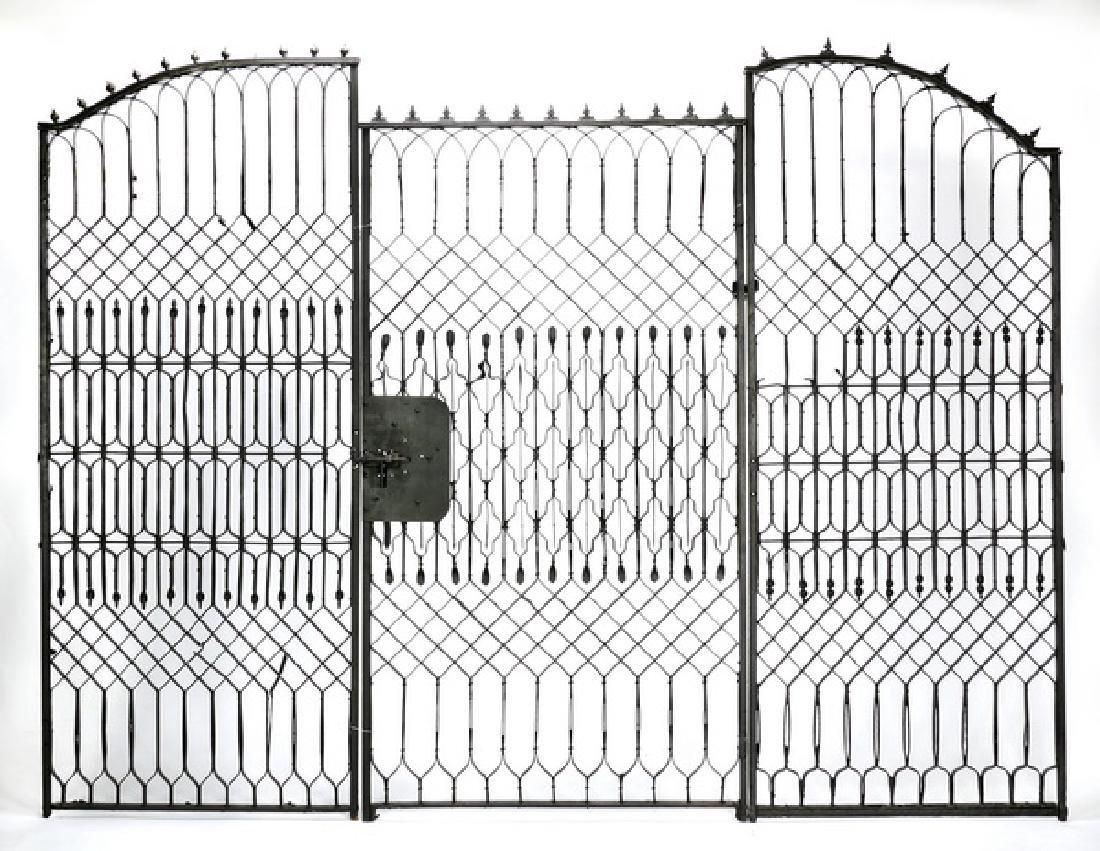 "Wrought iron garden gate, 102""w"