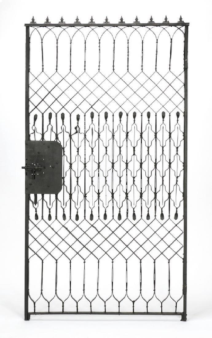 "Wrought iron garden gate, 102""w - 3"