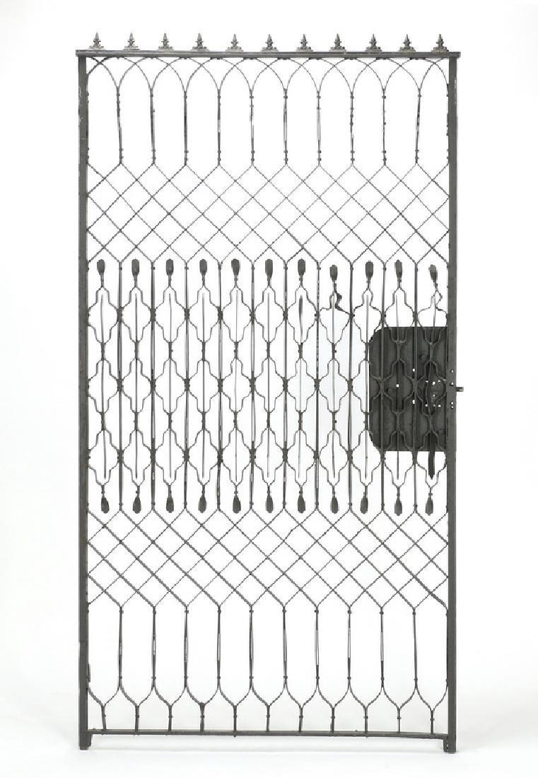"Wrought iron garden gate, 102""w - 4"