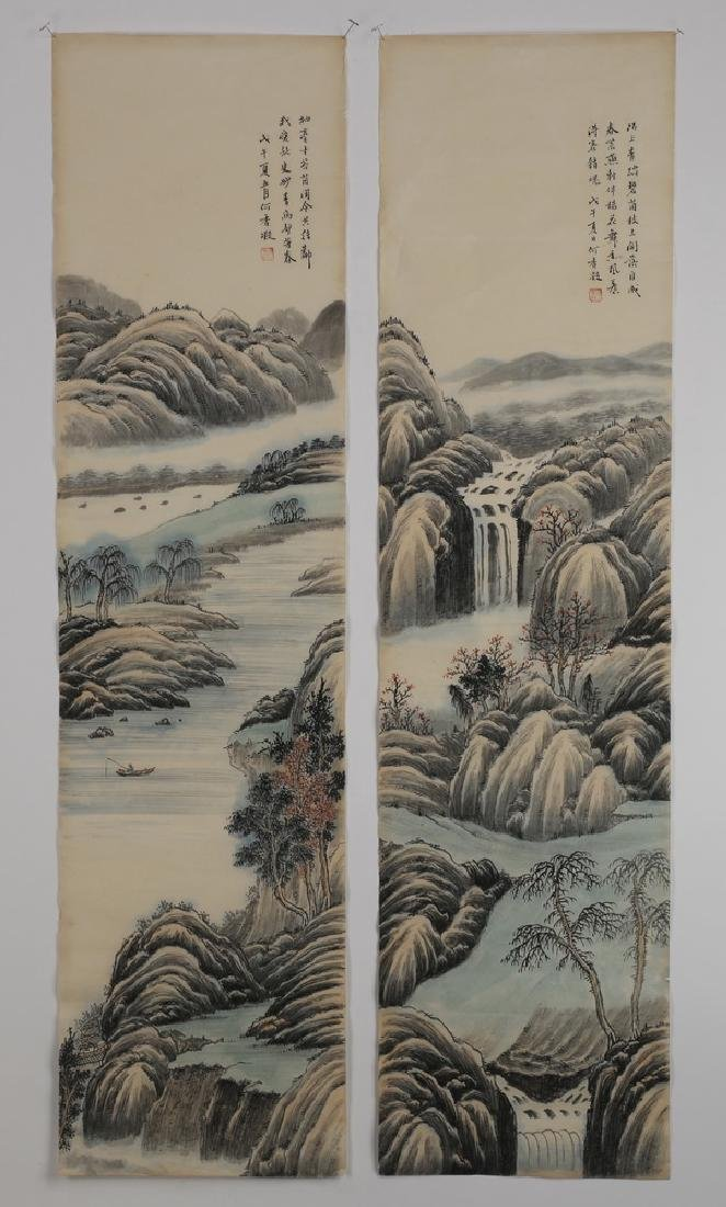 (2) Chinese hand scrolls, ink and watercolor