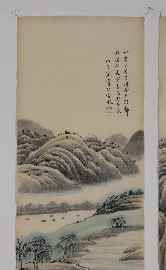 (2) Chinese hand scrolls, ink and watercolor - 3