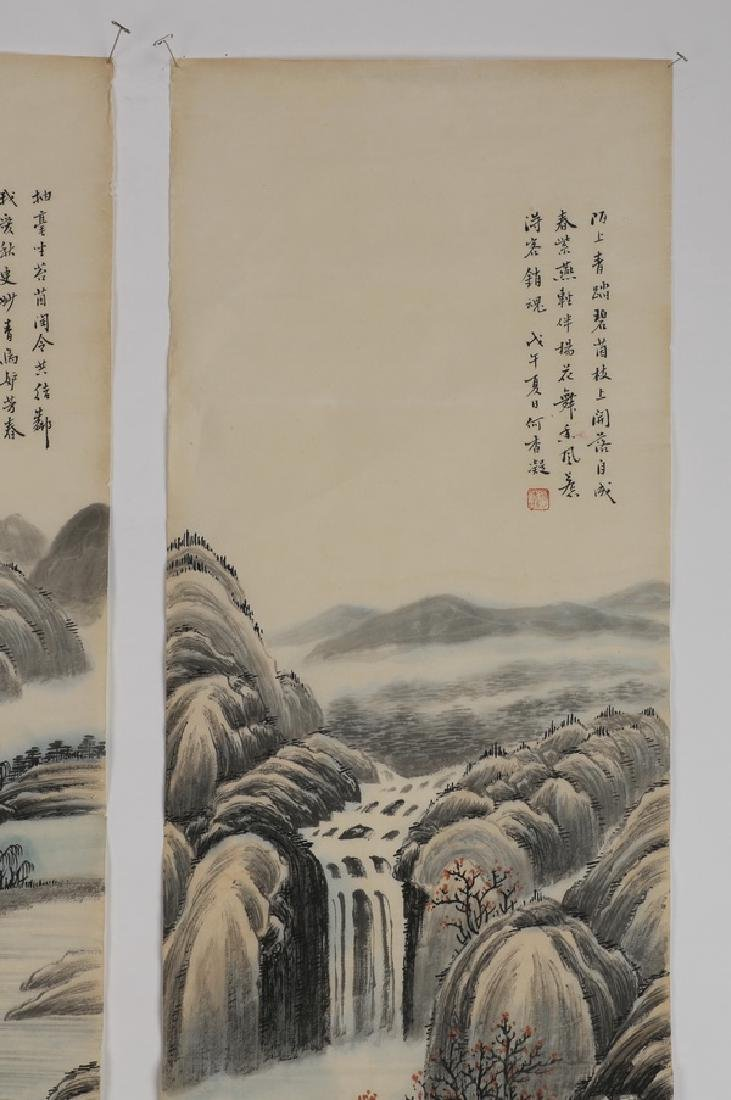 (2) Chinese hand scrolls, ink and watercolor - 7