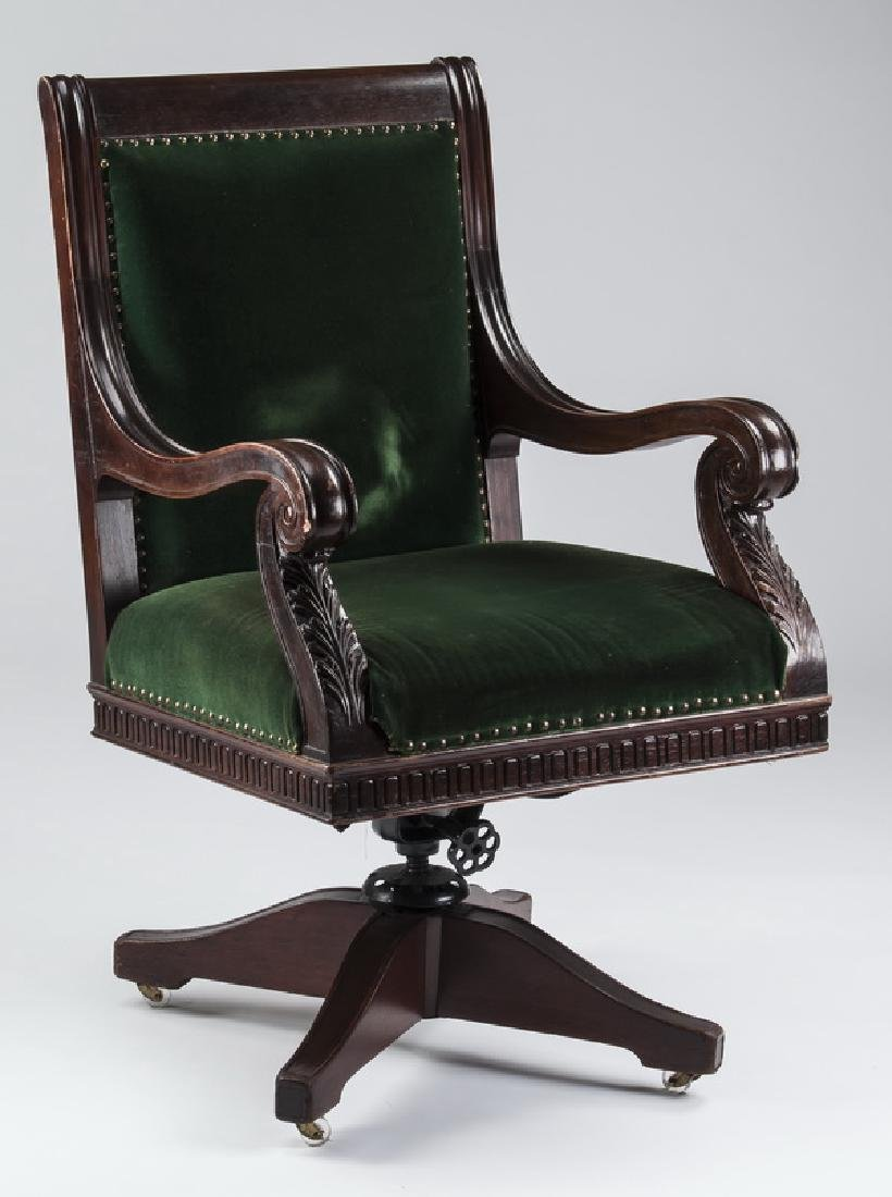 Vintage style mahogany office chair in velvet