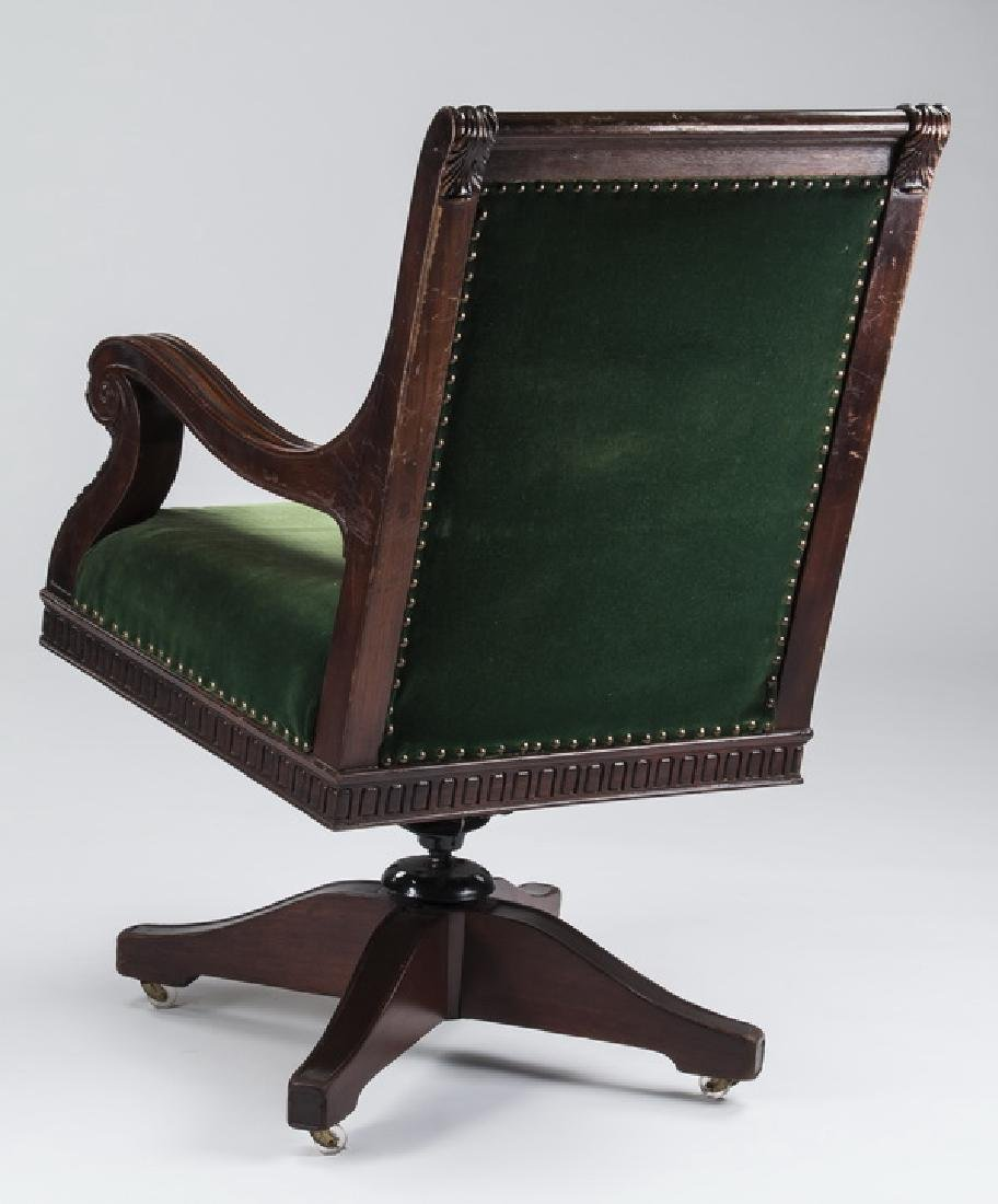 Vintage style mahogany office chair in velvet - 2