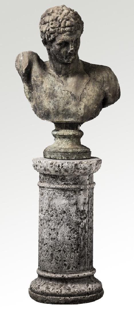 """Classical style bust of Hermes with pedestal, 64""""h"""
