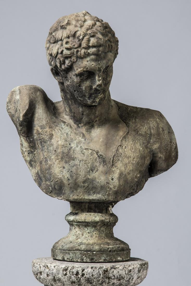 """Classical style bust of Hermes with pedestal, 64""""h - 2"""