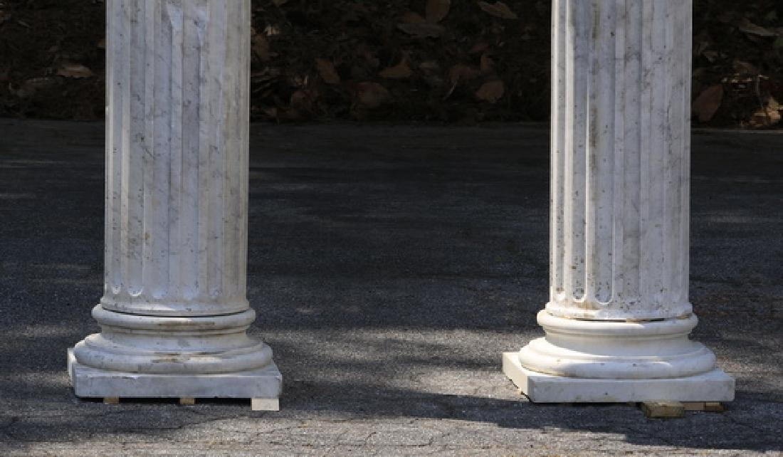 "Pair of classic carved marble Ionic columns, 109""h - 2"