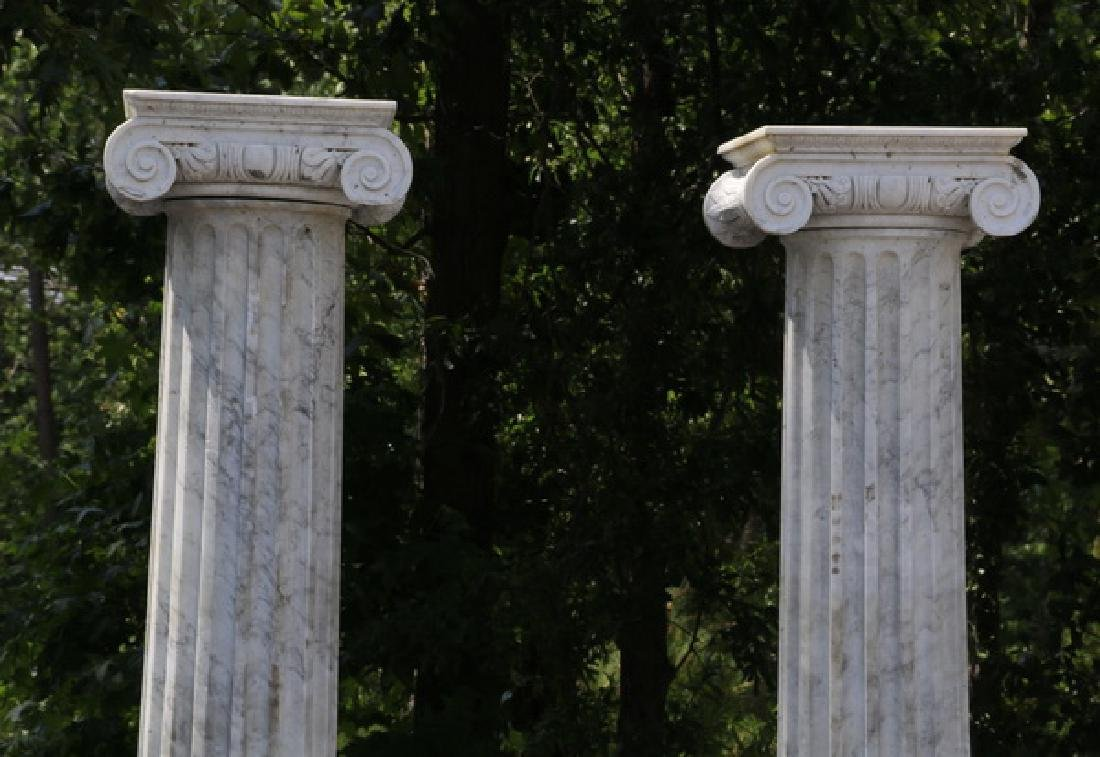 "Pair of classic carved marble Ionic columns, 109""h - 3"