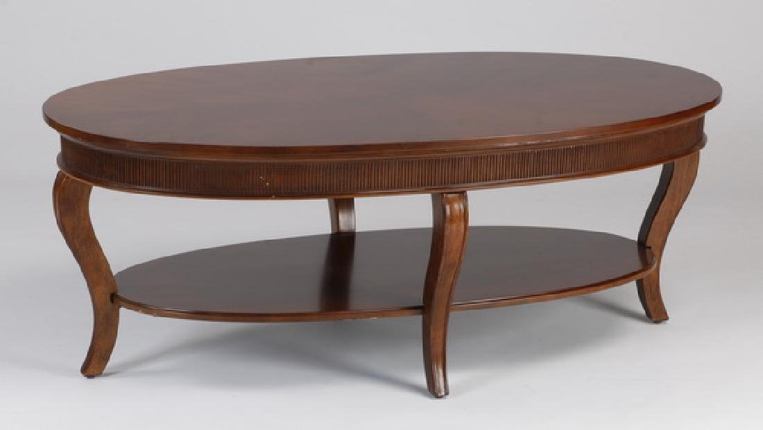 """Oval coffee table with lower shelf, 50""""l"""