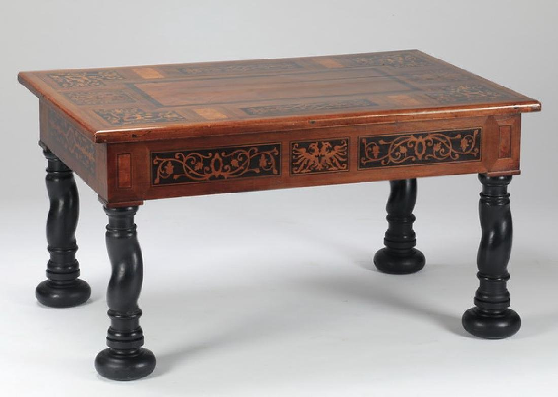 "Marquety inlaid cocktail table, 22""h"