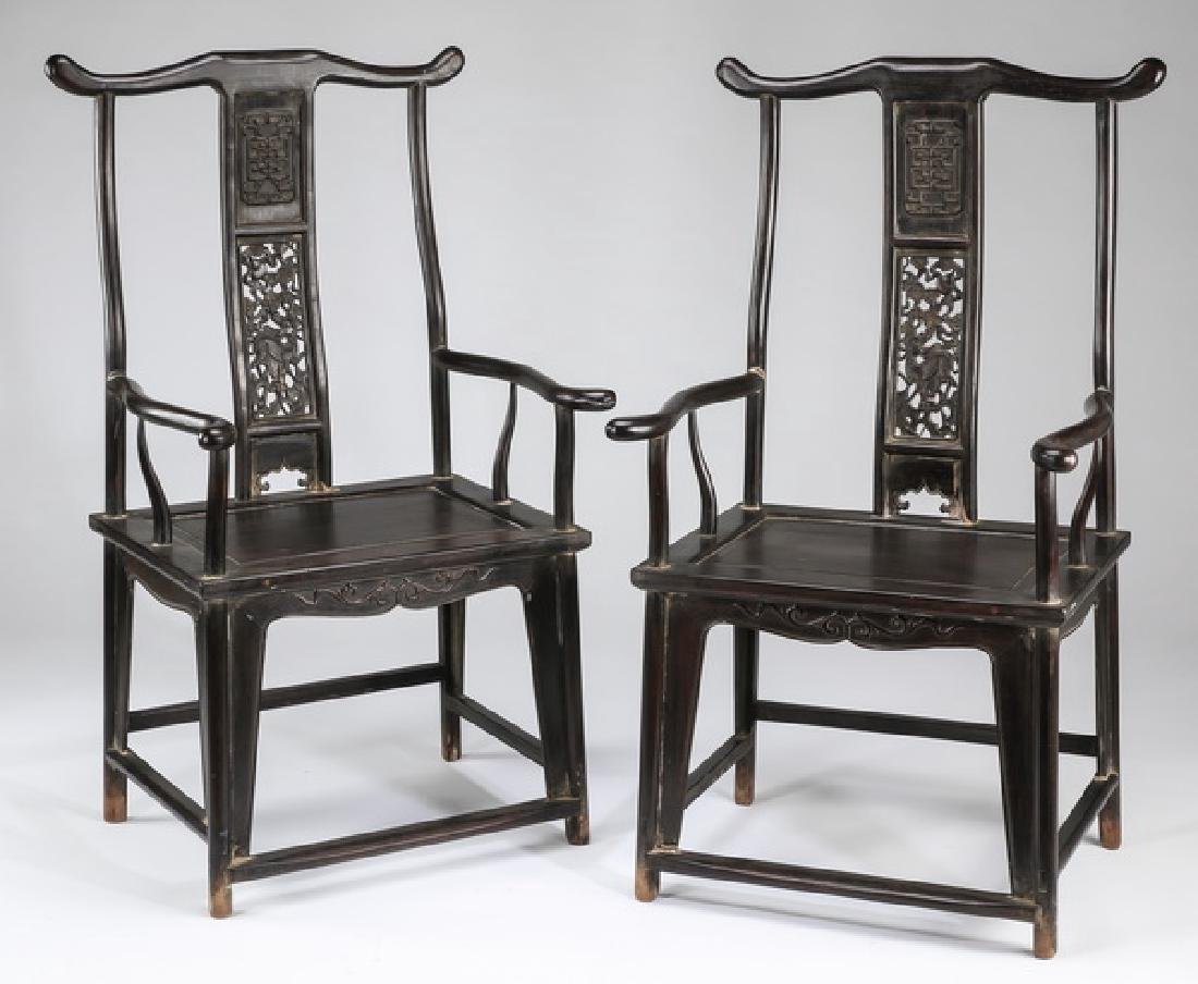 (2) Chinese carved 'official's hat' armchairs