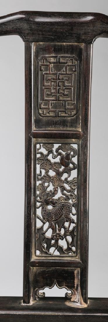 (2) Chinese carved 'official's hat' armchairs - 3