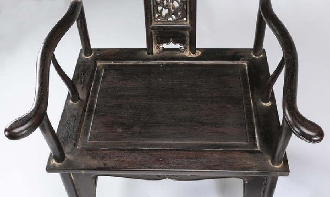 (2) Chinese carved 'official's hat' armchairs - 4