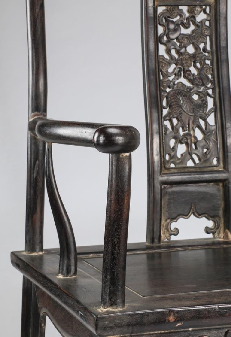 (2) Chinese carved 'official's hat' armchairs - 6