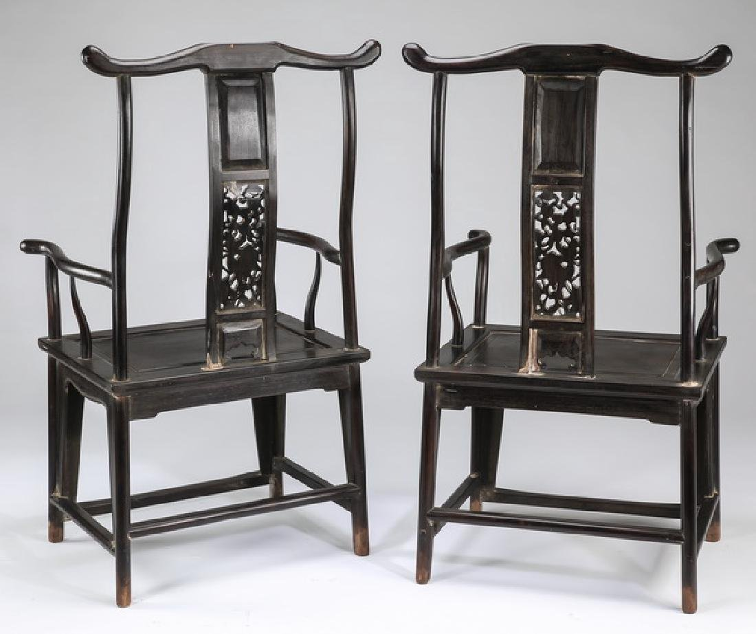 (2) Chinese carved 'official's hat' armchairs - 7
