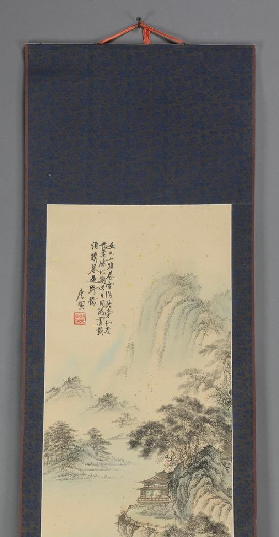 Chinese hand painted ink & watercolor scroll - 2