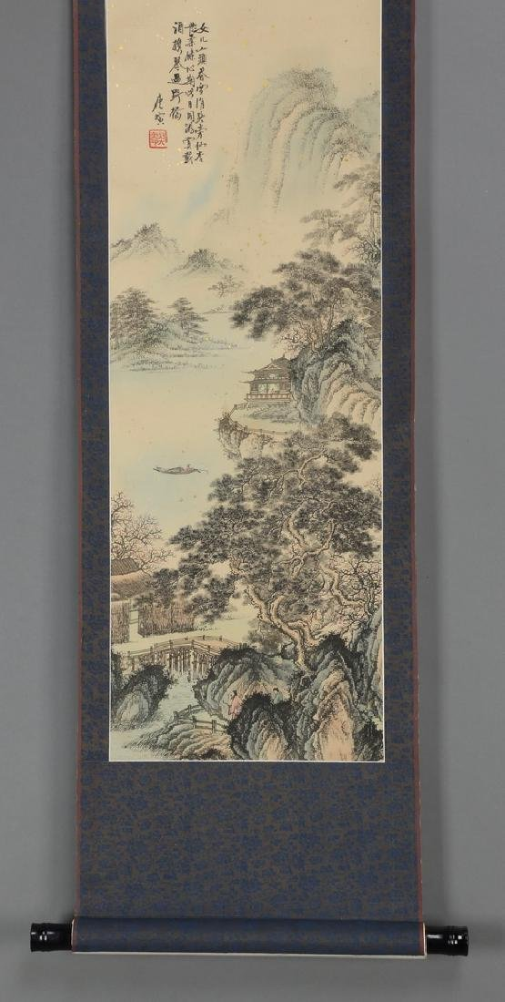 Chinese hand painted ink & watercolor scroll - 4