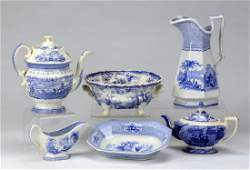 6Pieces 19th c blue and white transferware