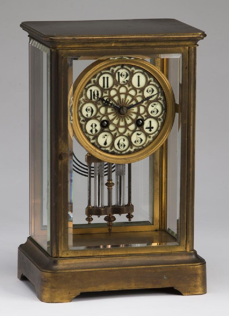 Victorian style brass & beveled glass clock