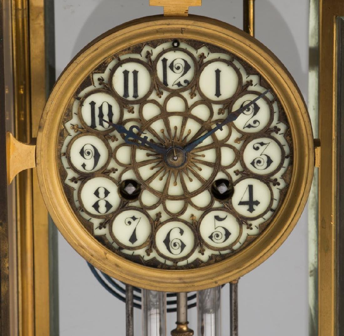 Victorian style brass & beveled glass clock - 2