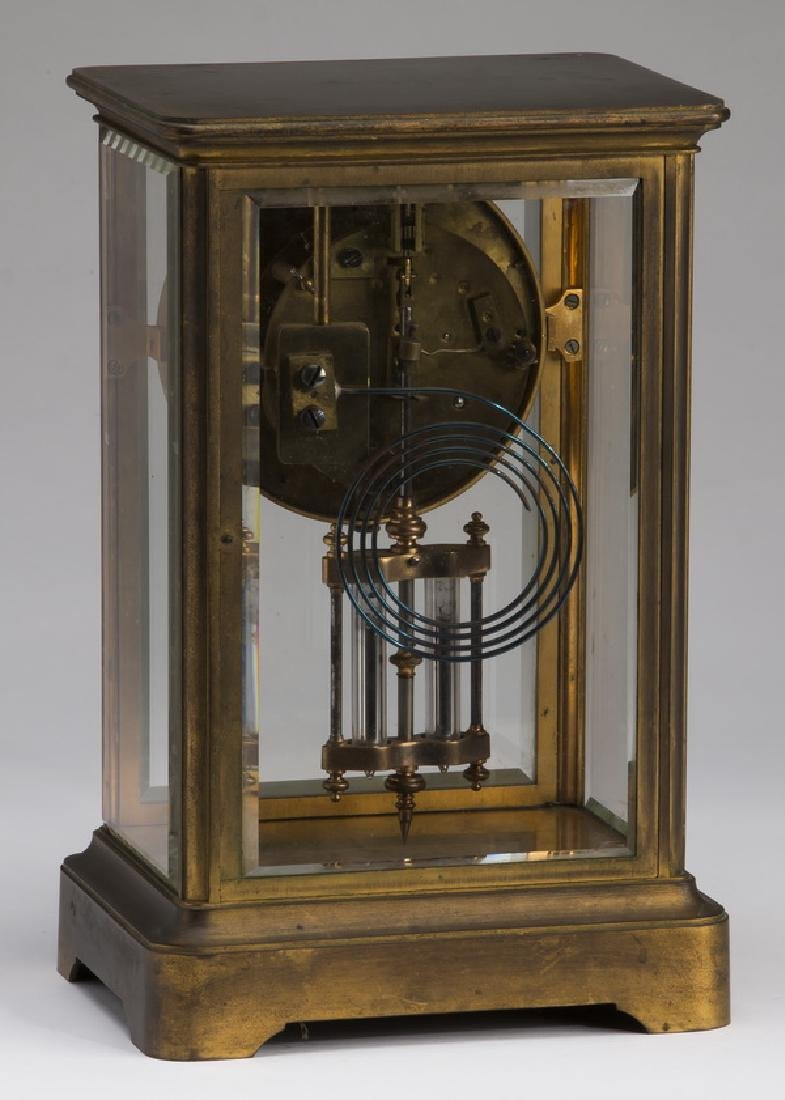 Victorian style brass & beveled glass clock - 3