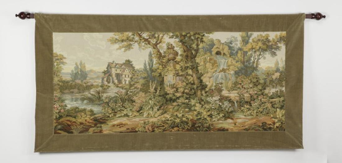 """Neoclassical style loomed tapestry with rod, 75""""w"""