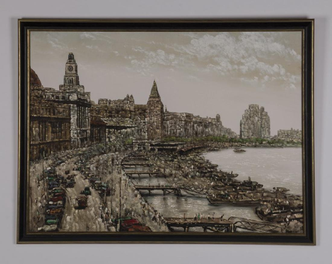 Chinese acrylic on canvas of bustling dockyard
