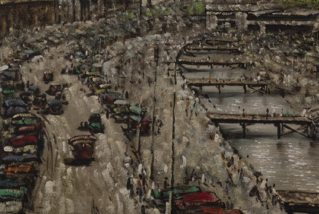 Chinese acrylic on canvas of bustling dockyard - 2