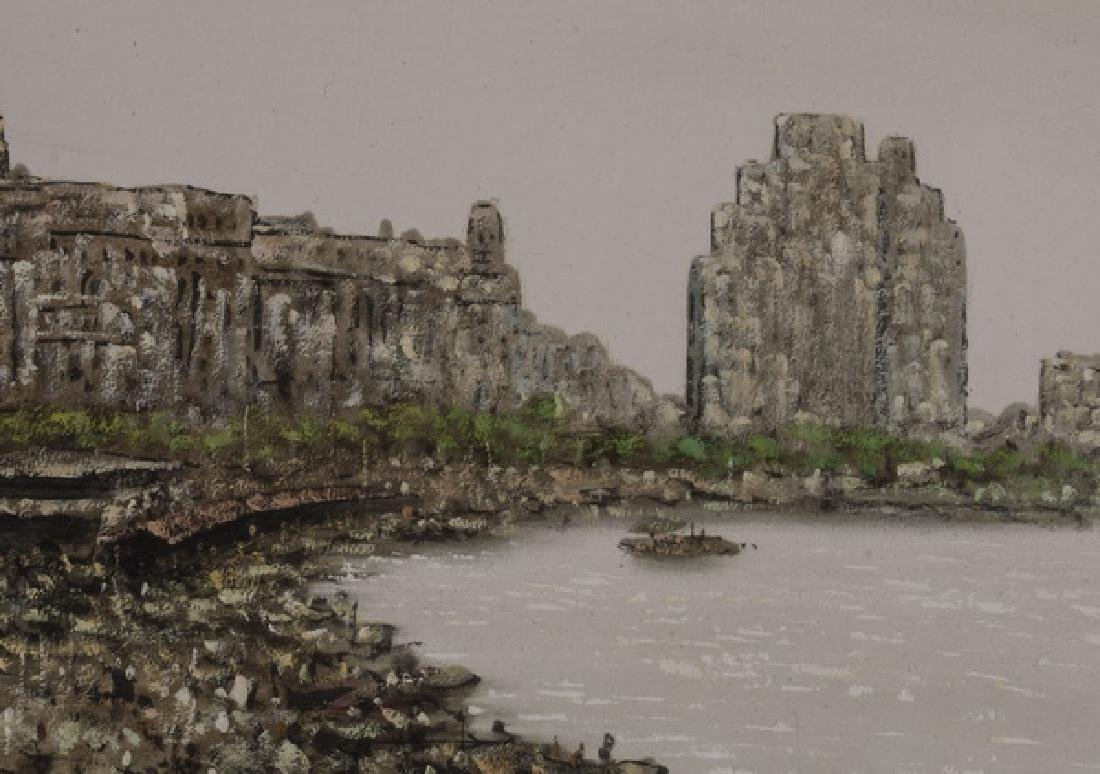 Chinese acrylic on canvas of bustling dockyard - 3