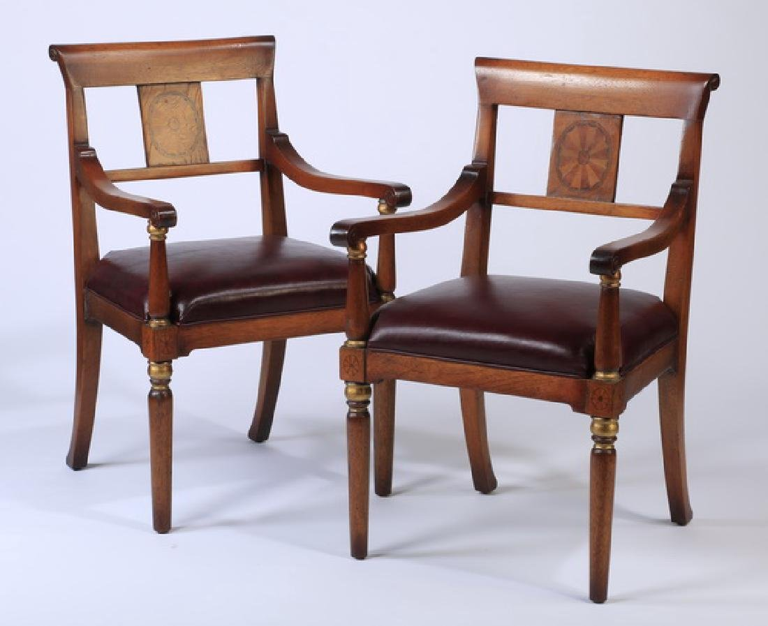 (2) Biedermeir style armchairs with leather seats