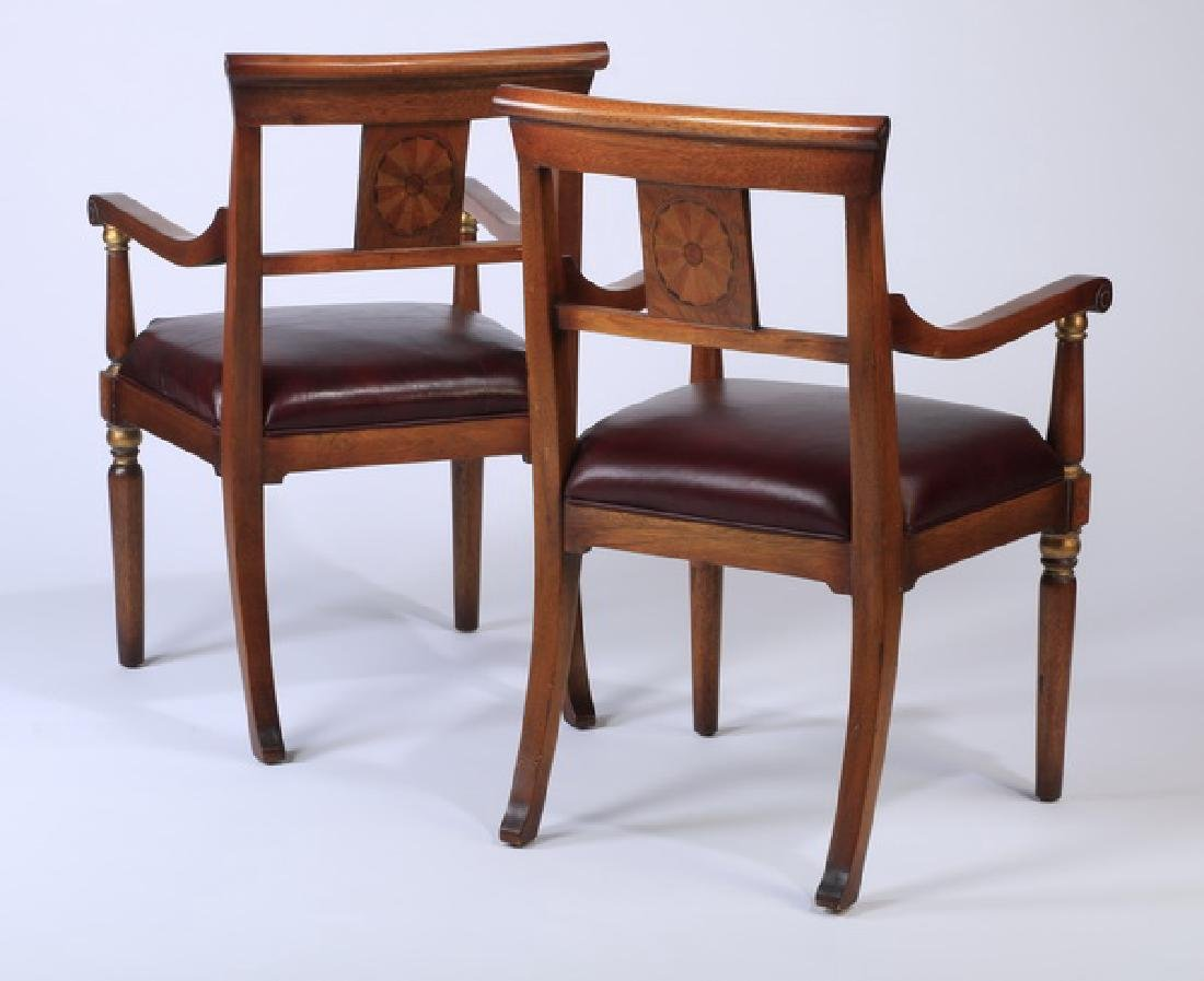(2) Biedermeir style armchairs with leather seats - 2