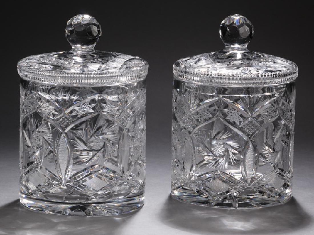 "(2) Cut crystal pinwheel pattern biscuit jars, 9""h"