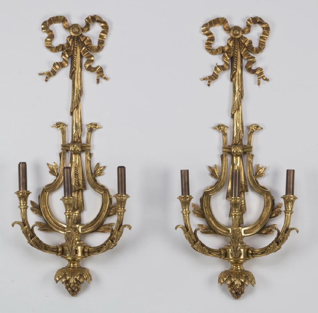 """(2) Neoclassical style gilt bronze sconces, 30""""h"""