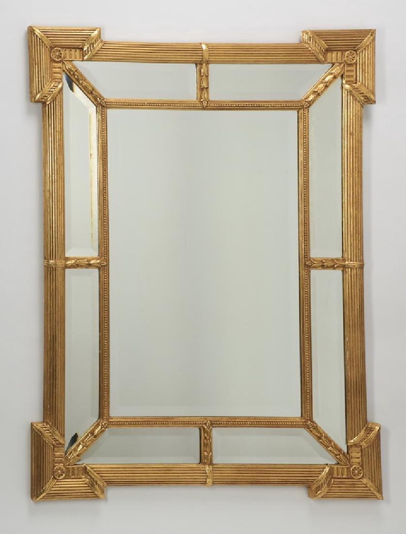 "Carved gilt wood beveled mirror, 45""h"