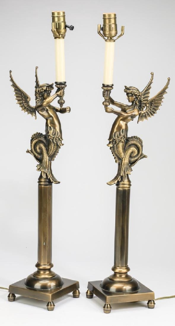 """(2) Neoclassical style bronze lamp bases, 29""""h"""