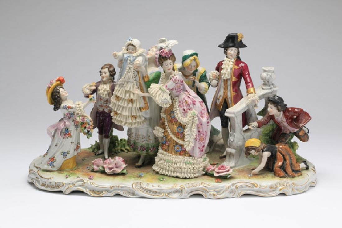"""19th c. Schiebe-Alsbach porcelain grouping, 17""""long"""